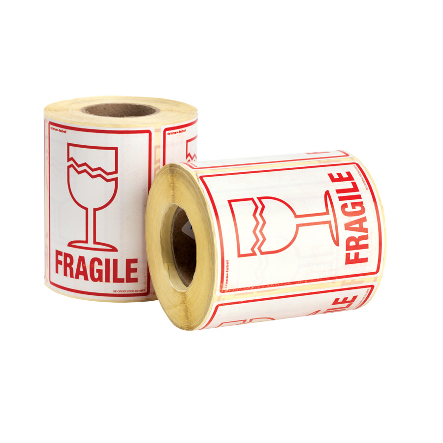 FRAGILE Printed Labels 108 x 79mm